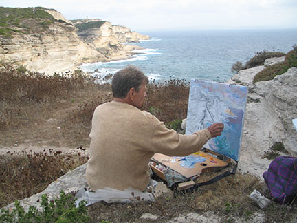 Nikolai Kuzmin right in the middle of creating, not far from Bonifacio, when he was in Corsica in 2005.