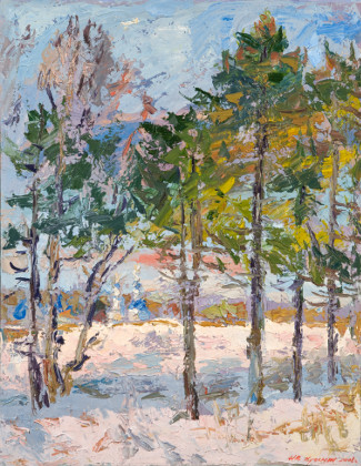 On a sunny winter day in the outskirts of Moscow. Oil on canvas, 90 x 70 cm (32.8 x 27.6 inches). 2008