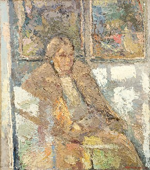 The art critic Nina Mikhaylova. Oil on canvas, 100 х 88 cm (39.4 x 34.6 inches). 1991