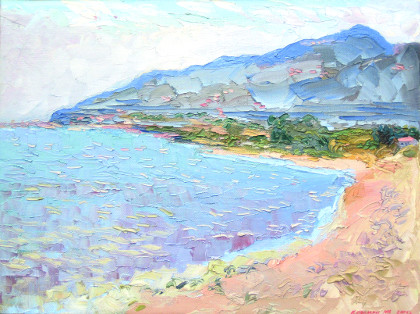 The sea in Corsica. Oil on canvas, 60 x 80 cm (23.6 x 31.5 inches). 2005