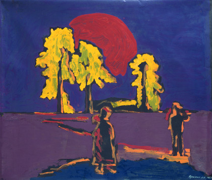 'On the road to Murom stood three pine trees...' The red sun above the yellow pine trees. 105 x 120 cm (41.3 x 47.2 inches). 2002