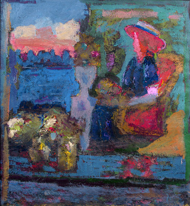 The dreams. Beautiful lady. Oil on canvas, 120 x 110 cm (47.2 x 43.3 inches). 2002