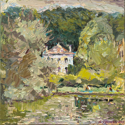 Small house at the ponds of Corot. Oil on canvas, 58 x 58 cm (22.8 x 22.8 inches). 2012. Private collection
