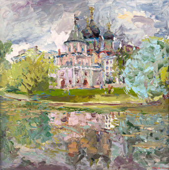 Lilac harmony. The bridge tower and the church of Pokrova in Izmaylovo. Oil on canvas, 100 x 100 cm (39.4 x 39.4 inches). 2007