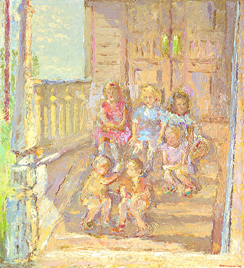 Once upon a time, the children sitting on the golden porch... Oil on canvas, 110 x 100 cm (43.3 x 39.4 inches). 1991. Private collection