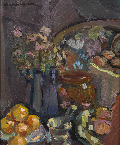 Still life with a mortar. Oil on canvas, 61 x 51 cm (24.0 x 20.1 inches). 2013.