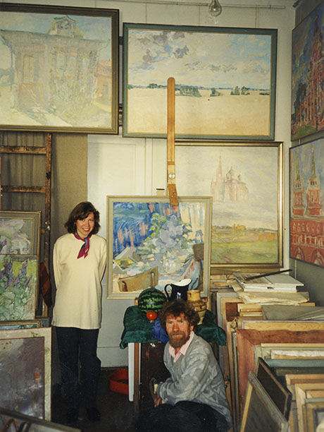 Nikolai Kuzmin in his Muscovite workshop, with his daughter Liubov Kuzmina