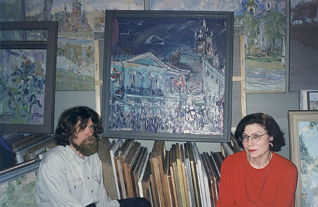 Nikolai Kuzmin in his Muscovite workshop, with his wife Zoya Kuzmina